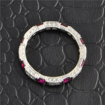 Ruby and Diamond Eternity Band in White Gold