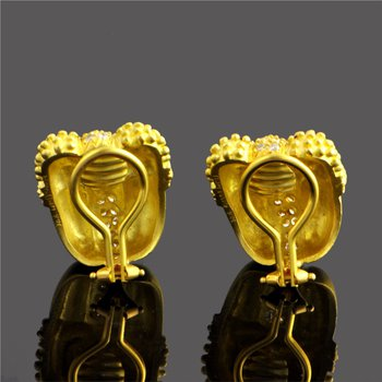 Brushed 18k Yellow Gold Diamond Ear Clips by Doris Panos