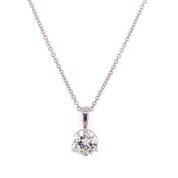 1.0 ct. Diamond Solitaire Pendant in White Gold