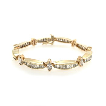 Baguette & Marquise Diamond Bracelet in Yellow Gold