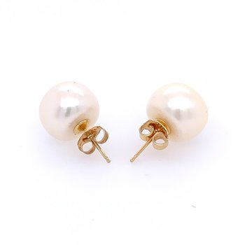 Pearl Stud Earrings in Yellow Gold