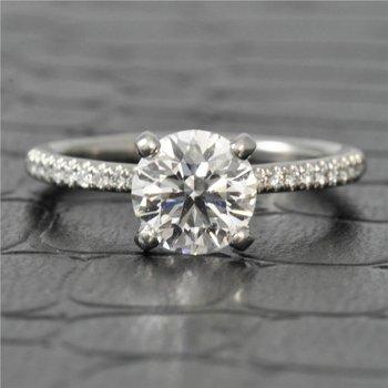 GIA 1.17 Carat D-VS1 Round Brilliant Cut Diamond Engagement Ring