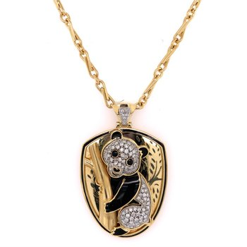 Enameled Diamond Panda Pendant in 18k Gold