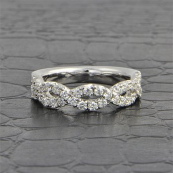 Twisted White Gold Diamond Wedding Band