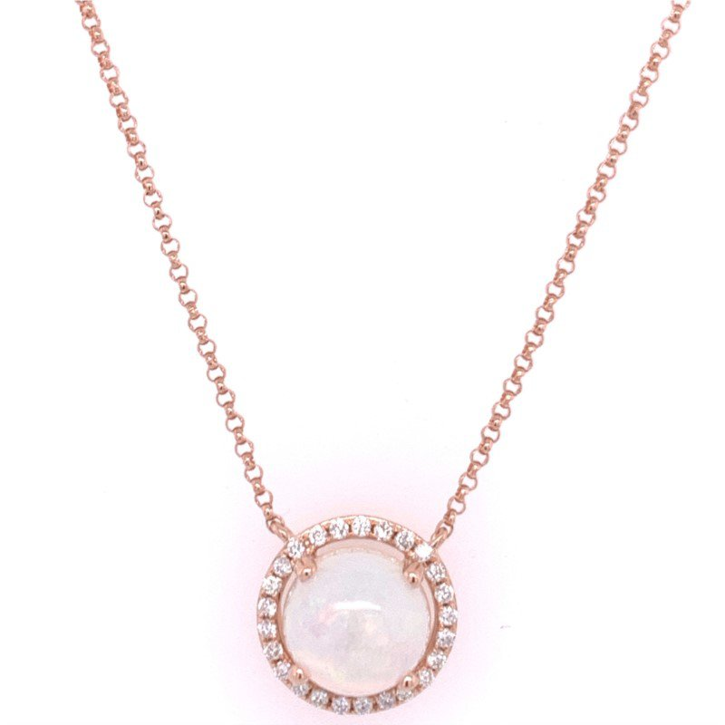 Royal Jewelry Opal and Diamond Pendant in Rose Gold