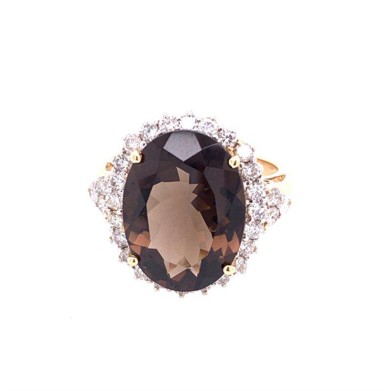 Ryan Gems Smoky Quartz and Diamond Ring in Yellow Gold