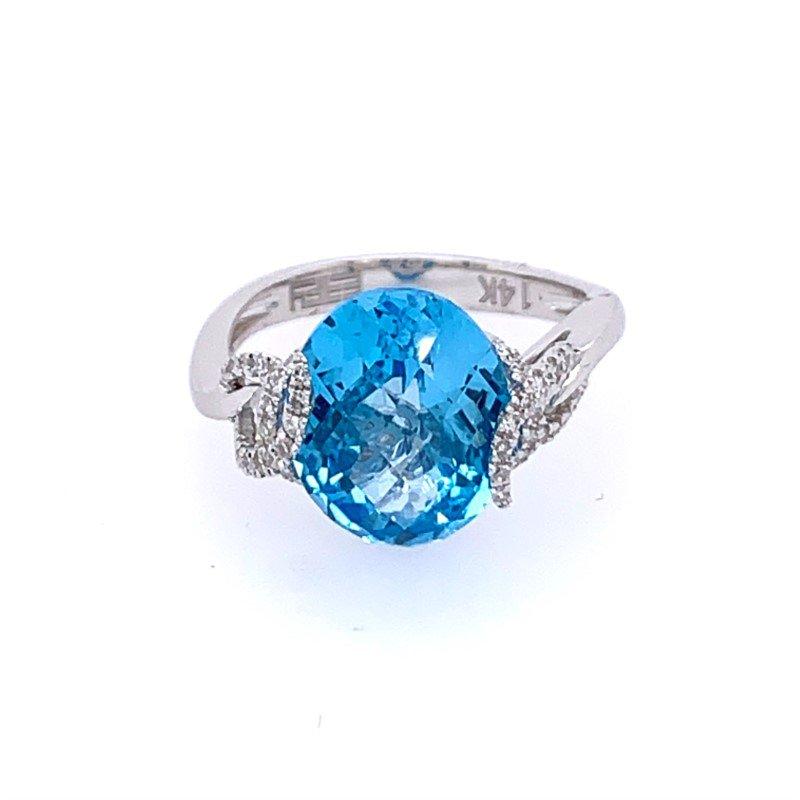 Effy Blue Topaz and Diamond Ring in White Gold