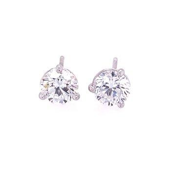 1.35 CTW Diamond Stud Earrings in White Gold