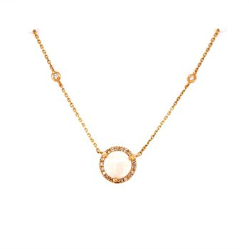 Opal and Diamond Necklace in Yellow Gold