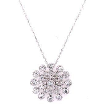 Diamond Snowflake Pendant in White Gold