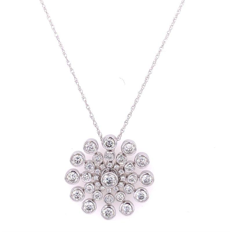 Royal Jewelry Diamond Snowflake Pendant in White Gold