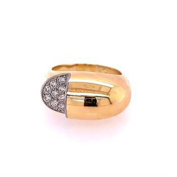 Vintage 1970s-80s Abstract Diamond Fashion Ring in 18k Gold