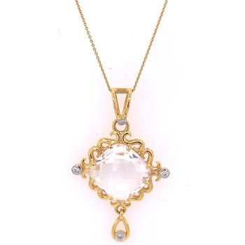Quartz and Diamond Pendant in 18k Yellow Gold