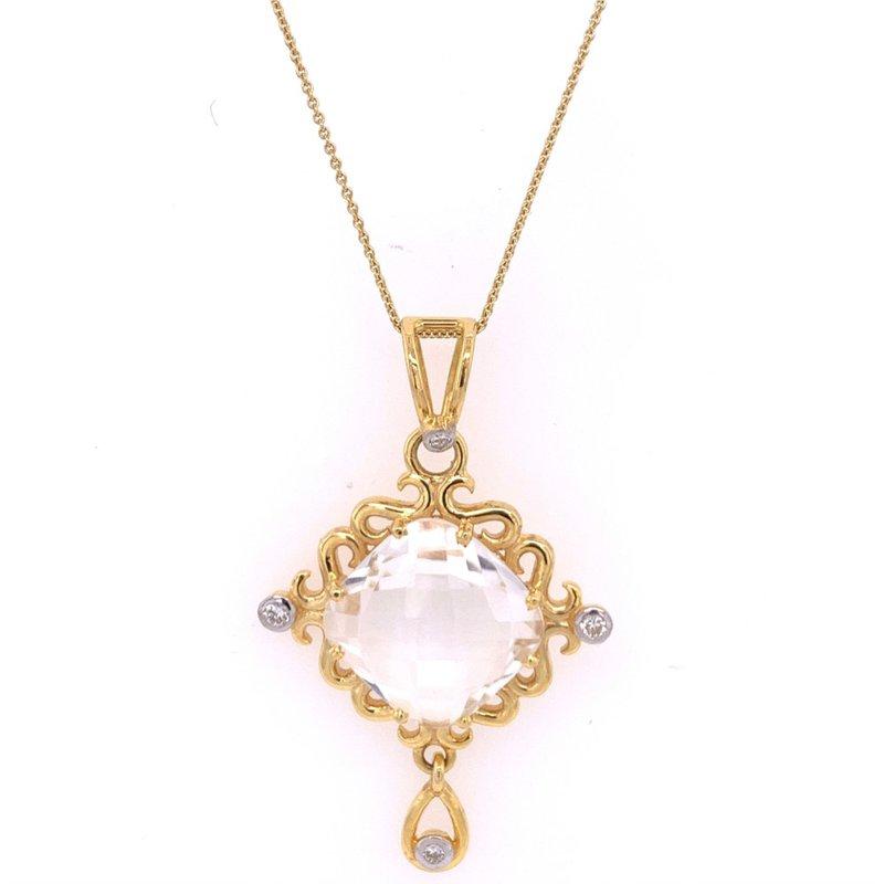 Jewel Couture Quartz and Diamond Pendant in 18k Yellow Gold