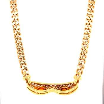 BVLGARI Citrine and Diamond Necklace in 18k Gold