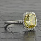 David Weisz & Sons 3.34 Carat Fancy Brown Yellow Cushion Cut Diamond Ring in White Gold
