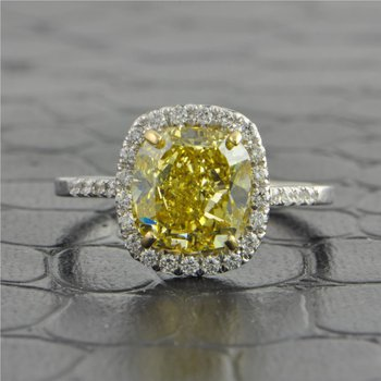 3.34 Carat Fancy Brown Yellow Cushion Cut Diamond Ring in White Gold
