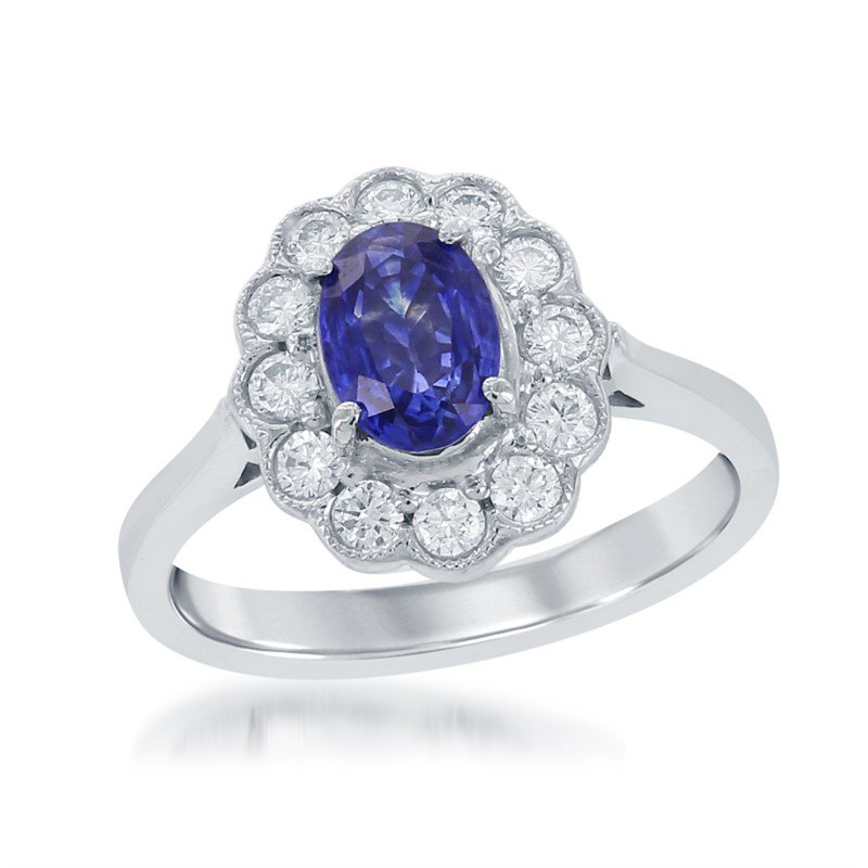 Jewels By Jacob Sapphire and Diamond Ring in 18k White Gold