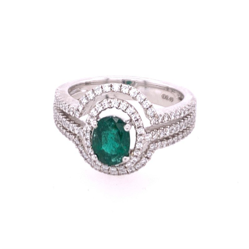 Jewels By Jacob Emerald and Diamond Ring in White Gold