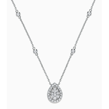 Pear Shaped Diamond Pave Necklace in White Gold