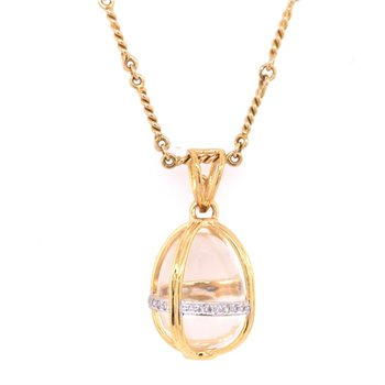 Crystal Egg Charm in 18k Yellow Gold
