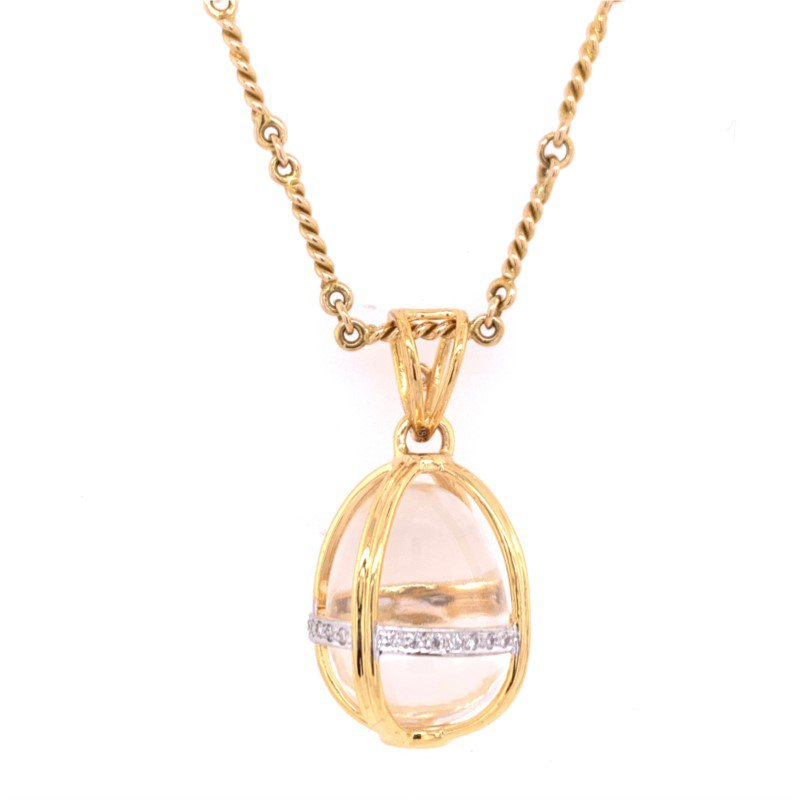 Jewel Couture Crystal Egg Charm in 18k Yellow Gold