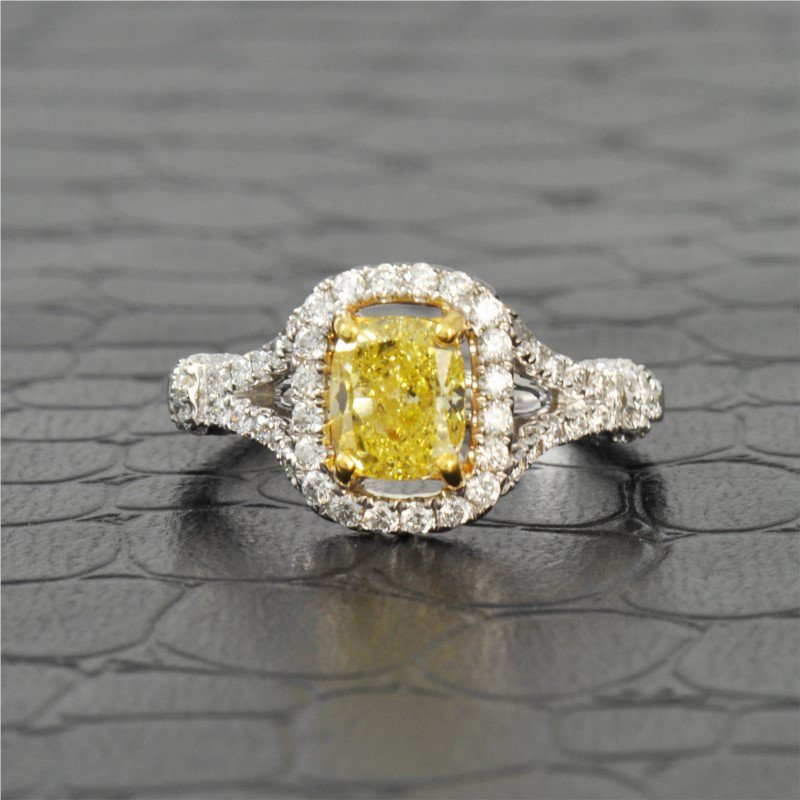 Jewels By Jacob Fancy Yellow Diamond Engagement Ring in White Gold