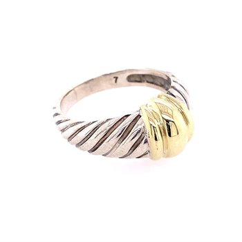 David Yurman Throroughbred Dome Ring in Sterling Silver and Gold