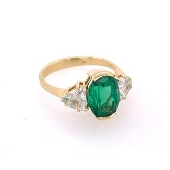 Elegant Emerald and Diamond Ring in 18k Yellow Gold