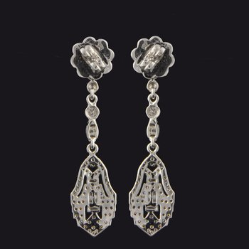 Vintage Inspired Diamond Earrings in White Gold