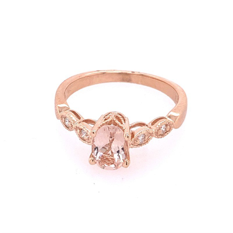 Royal Jewelry Morganite and Diamond Ring in Rose Gold
