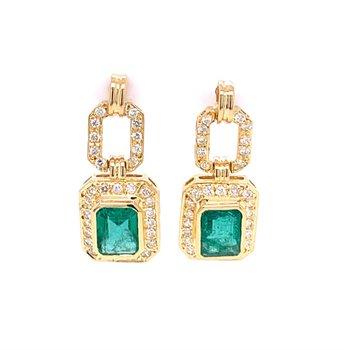 Emerald and Diamond Dangle Earrings in Yellow Gold