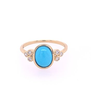 Turquoise and Diamond Ring in Yellow Gold