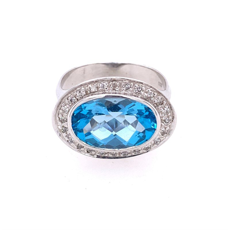Perry's Estate Collection Blue Topaz and Diamond Ring in White Gold