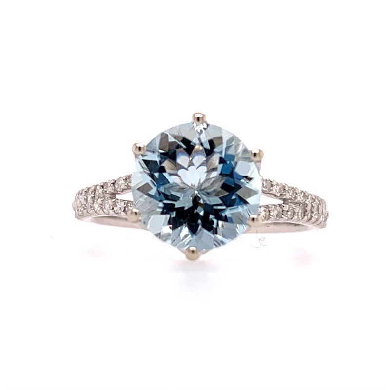 Effy Aquamarine and Diamond Ring in White Gold