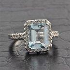 Ryan Gems Aquamarine and Diamond Ring in White Gold