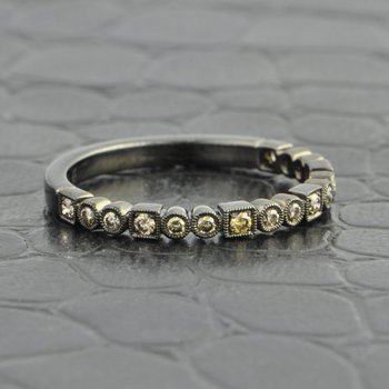 Black Rhodium Wedding Band With Cognac Diamonds