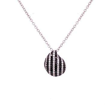 Black and White Diamond Pendant in White Gold