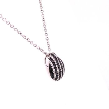 Black and White Diamond Pendant in White Gold