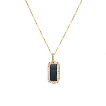Diamond Tag Pendant in Yellow Gold