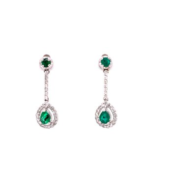 Emerald and Diamond Drop Earrings in White Gold