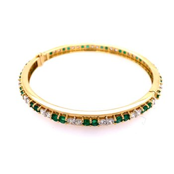 Emerald and Diamond Bangle Bracelet in 18k Gold