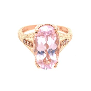 Kunzite and Diamond Ring in Rose Gold