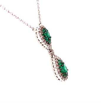 Emerald and Diamond Necklace in White Gold
