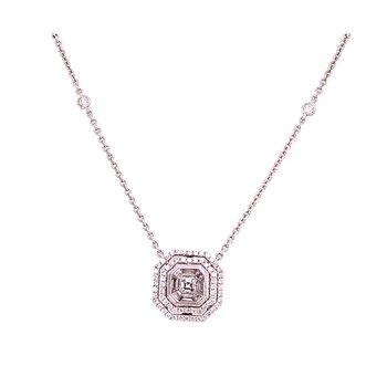 Geometric Diamond Pendant in 18k White Gold