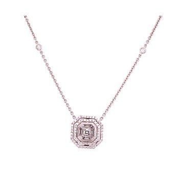 Geometric Diamond Pendant in 18k White Gold