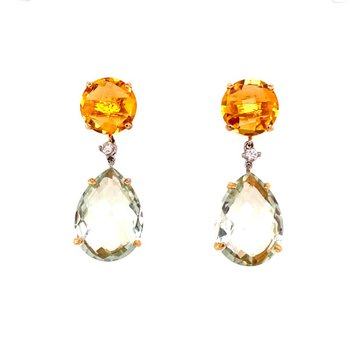 Citrine and Prasiolite Earrings in Yellow Gold