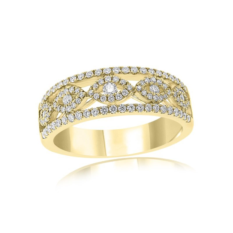Jewels By Jacob Open Work Diamond Band in 18k Gold