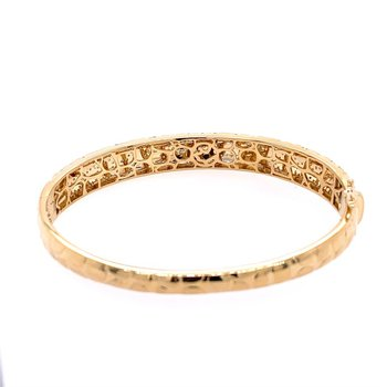 Textured Gold Bangle with Diamonds