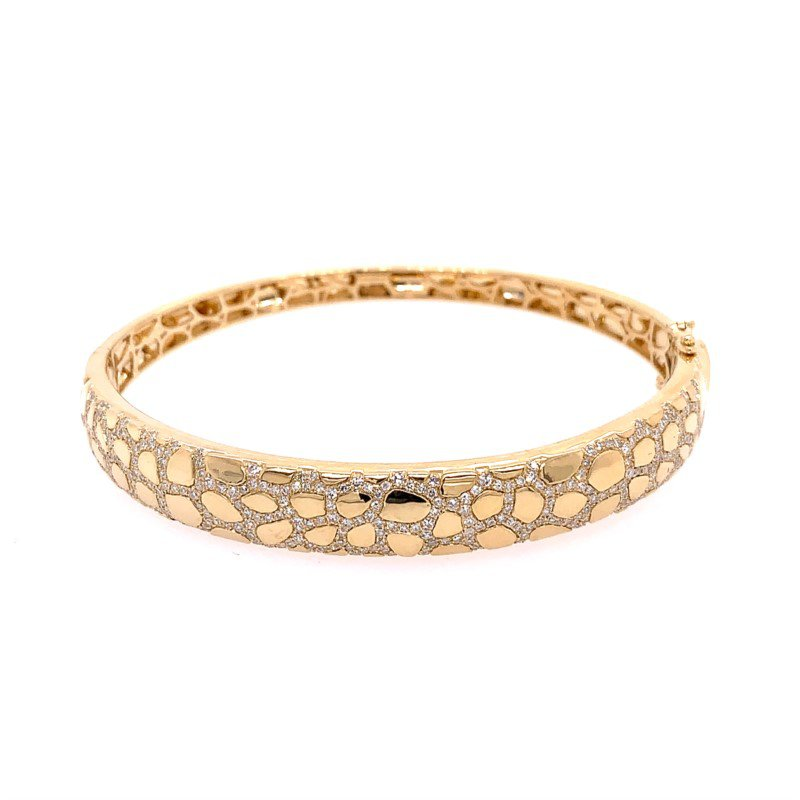 Effy Textured Gold Bangle with Diamonds